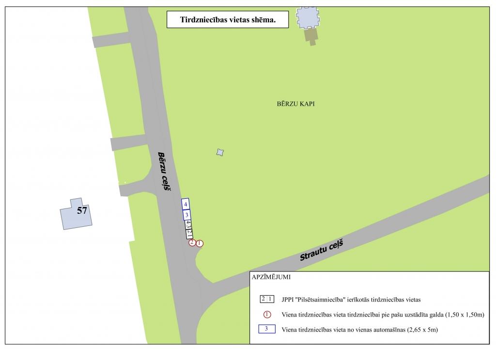 Labiekārtotās tirdzniecības vietas shēma Bērzu ceļā 40 pie Bērzu kapiem
