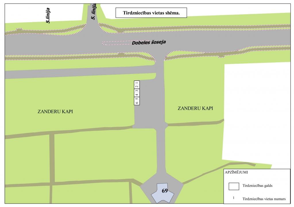 Labiekārtotās tirdzniecības vietas shēma Dobeles šosejā 69, stāvlaukumā pie Zanderu kapiem