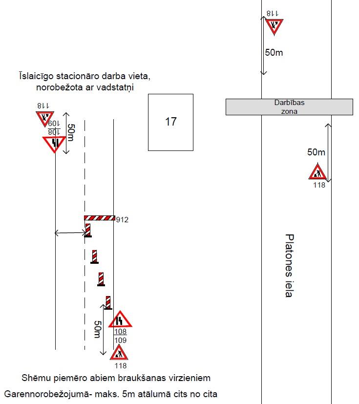 Satiksmes organizācijas shēma Platones ielā