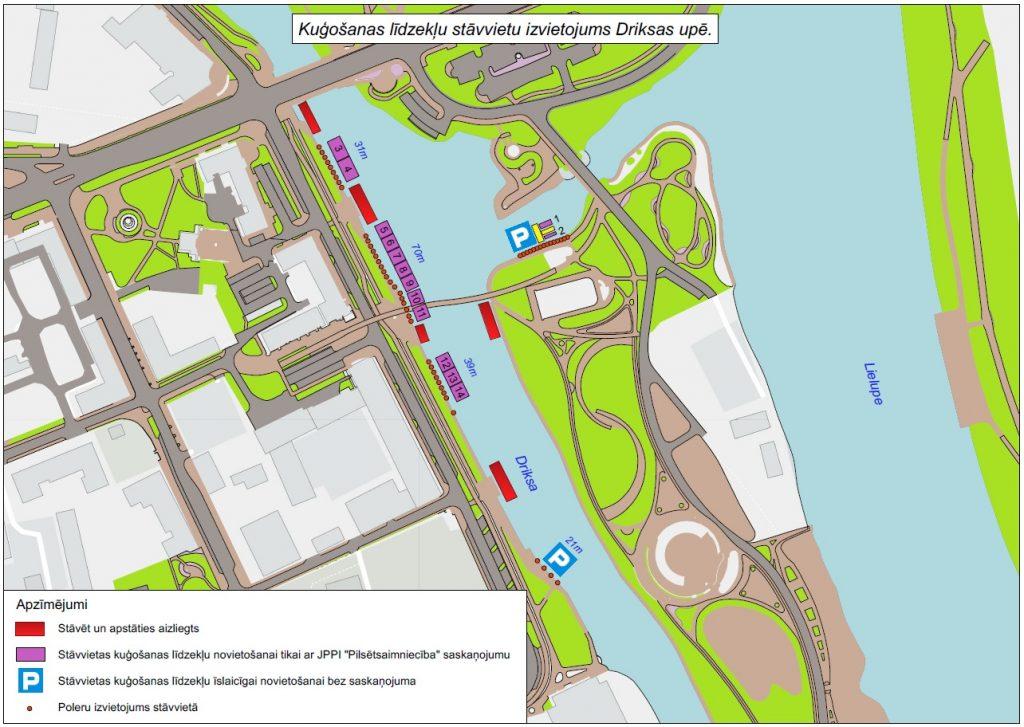 Kuģošanas līdzekļu stāvvietu izvietojums Driksas upē 2021. gadā
