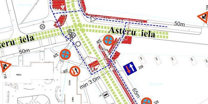 Aspazijas ielas un Asteru ielas krustojums