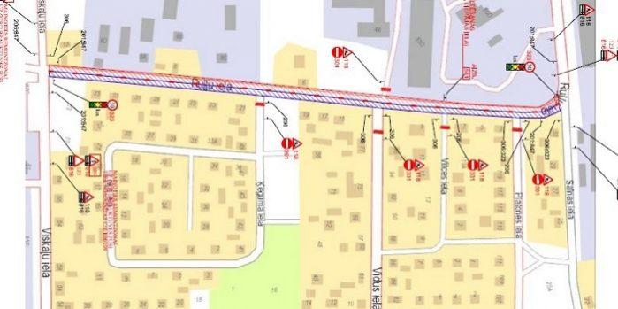 Satiksmes organizācijas shēma Ruļļu ielā