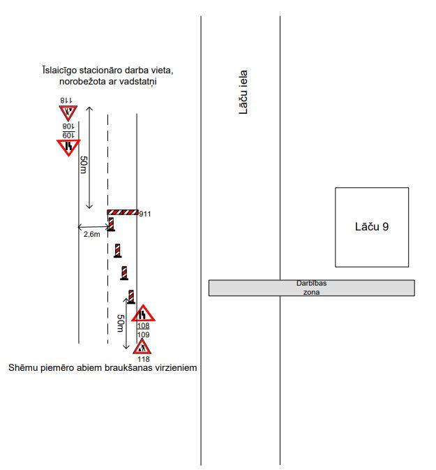 Satiksmes organizācijas shēma Lāču ielā