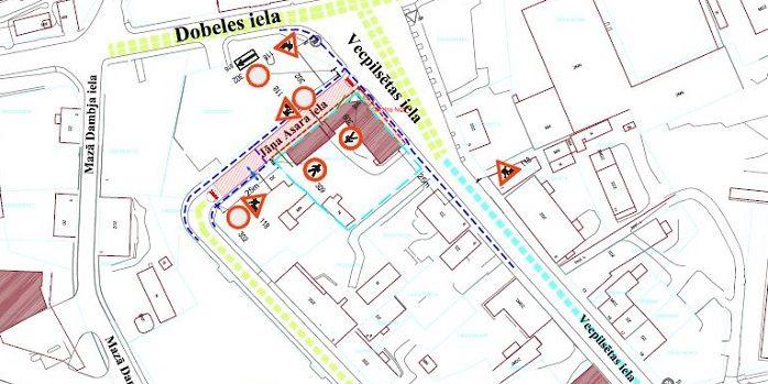 Satiksmes organizācijas shēma Jāņa Asara ielā