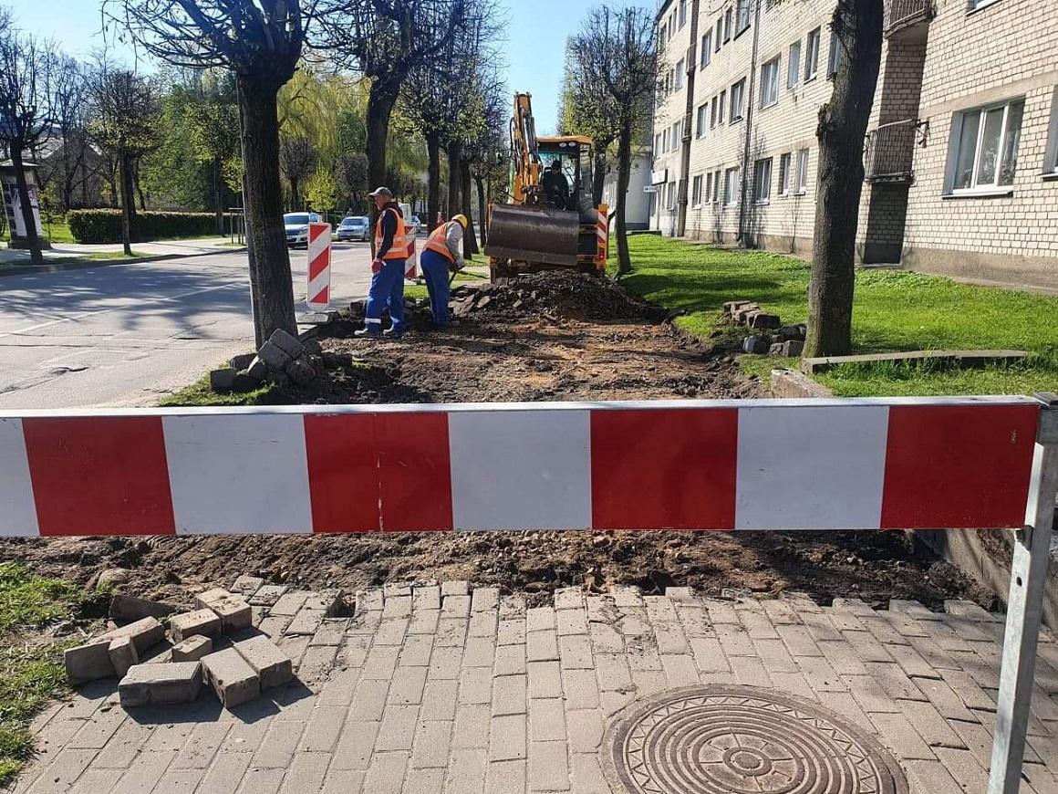 Katoļu ielas ietves atjaunošanas darbi, posmā no Driksas ielas līdz Raiņa ielai