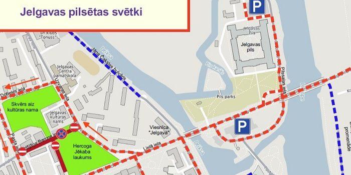 Satiksmes organizācijas shēma Jelgavas pilsētas svētku norises laikā