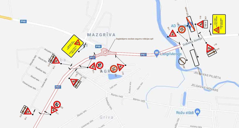 Satiksmes organizācijas shēma Valsts reģionālā autoceļa P97 Jelgava – Dobele – Annenieki posmā