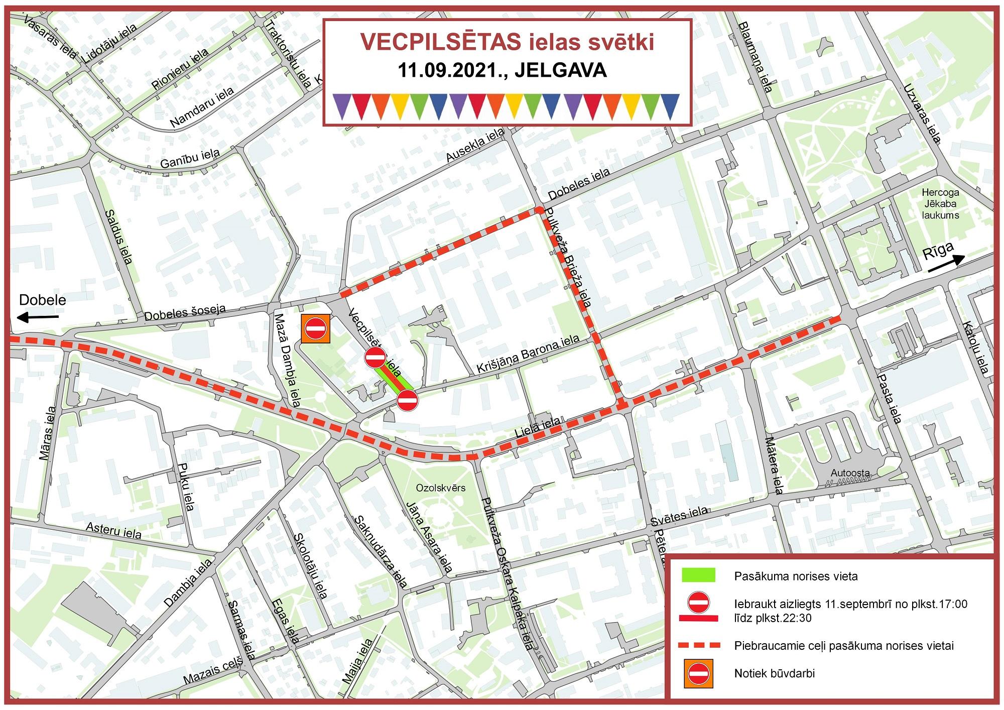 Satiksmes organizācijas shēma Vecpilsētas ielas svētku norises laikā