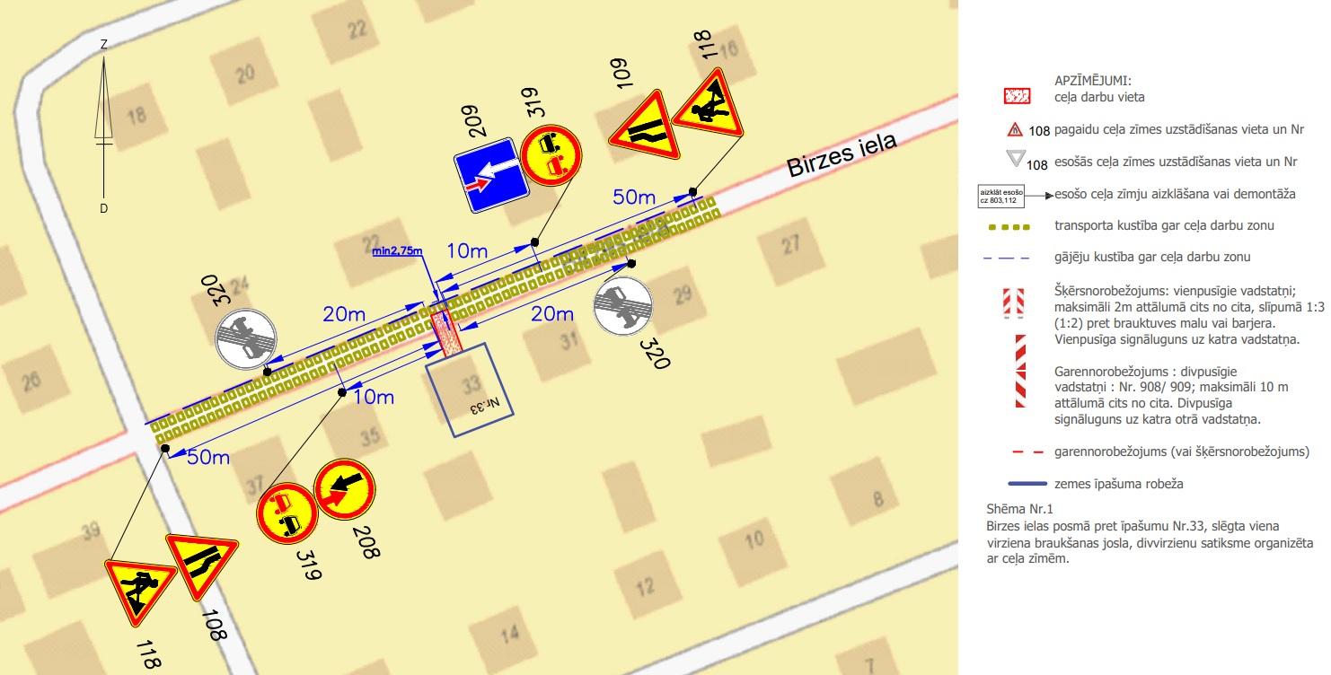 Satiksmes organizācijas shēma Birzes ielā
